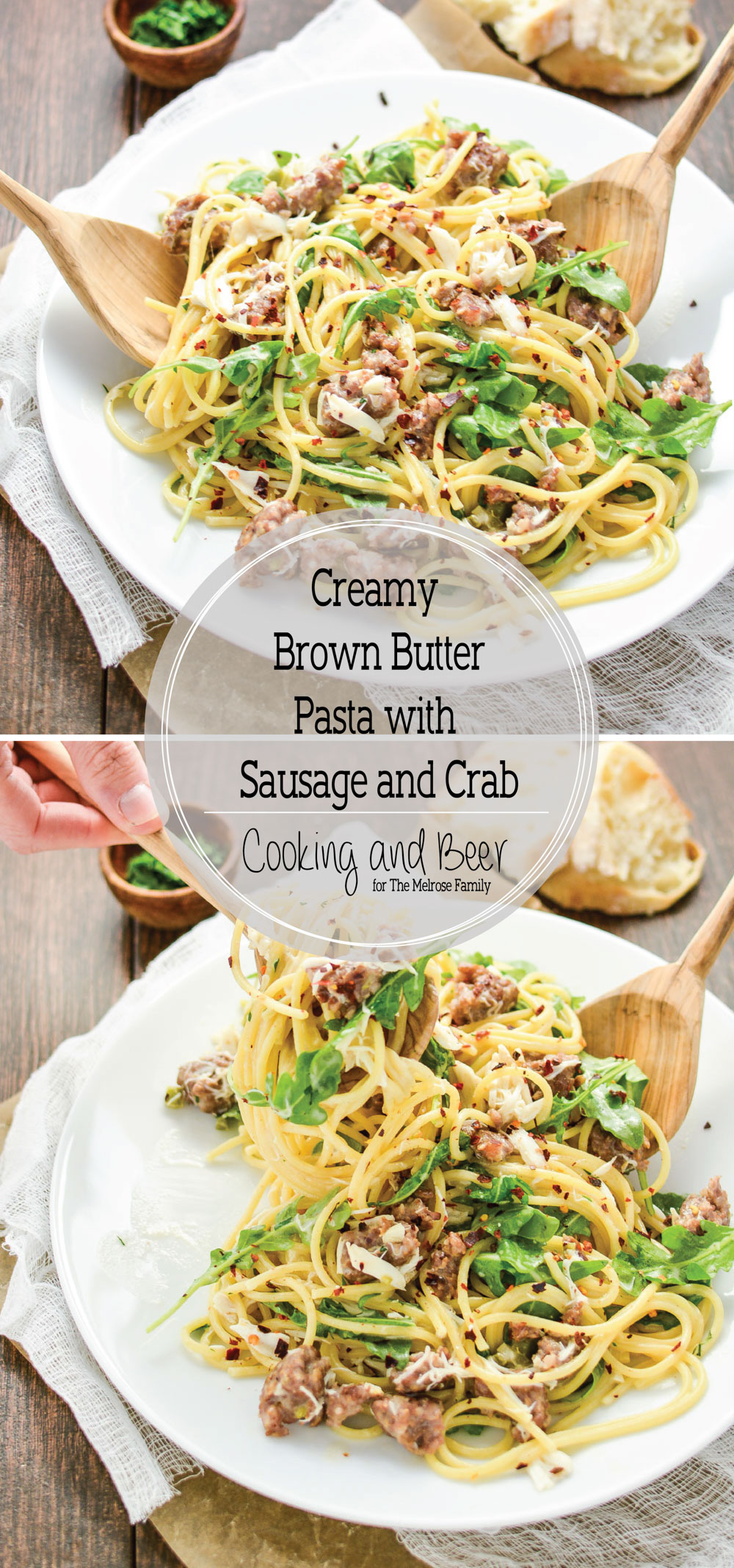 Creamy Brown Butter Pasta with Sausage and Crab is a surf and turf dish like you've never seen before!