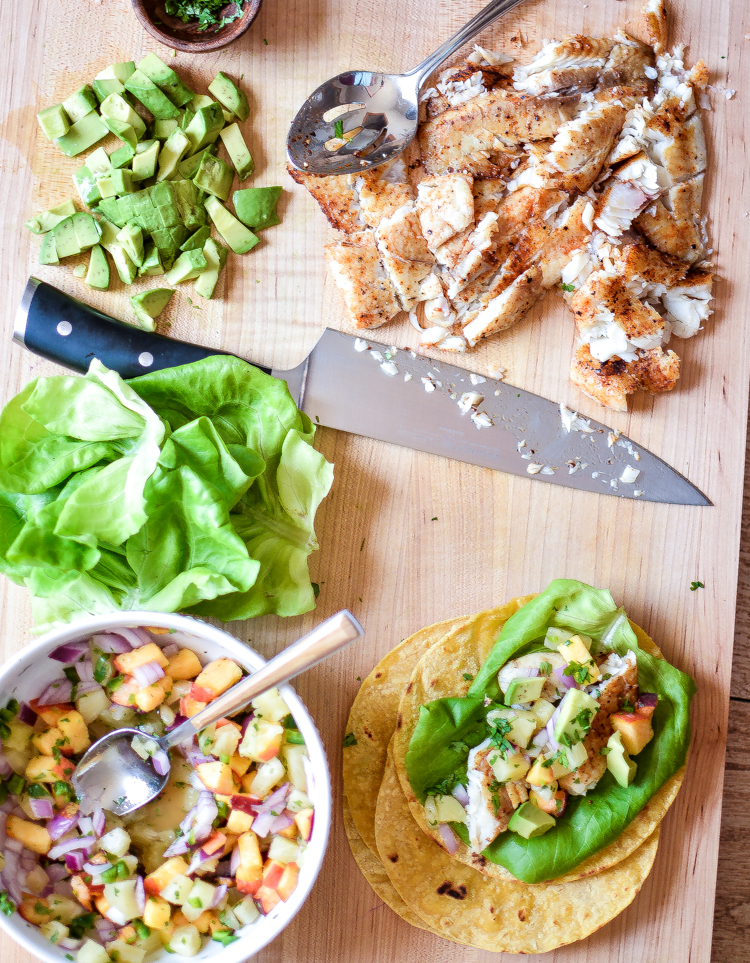 Chipotle Chili Fish Tacos with Peach Pineapple Salsa: a fresh, healthy and delicious #tacotuesday dinner recipe! | www.cookingandbeer.com