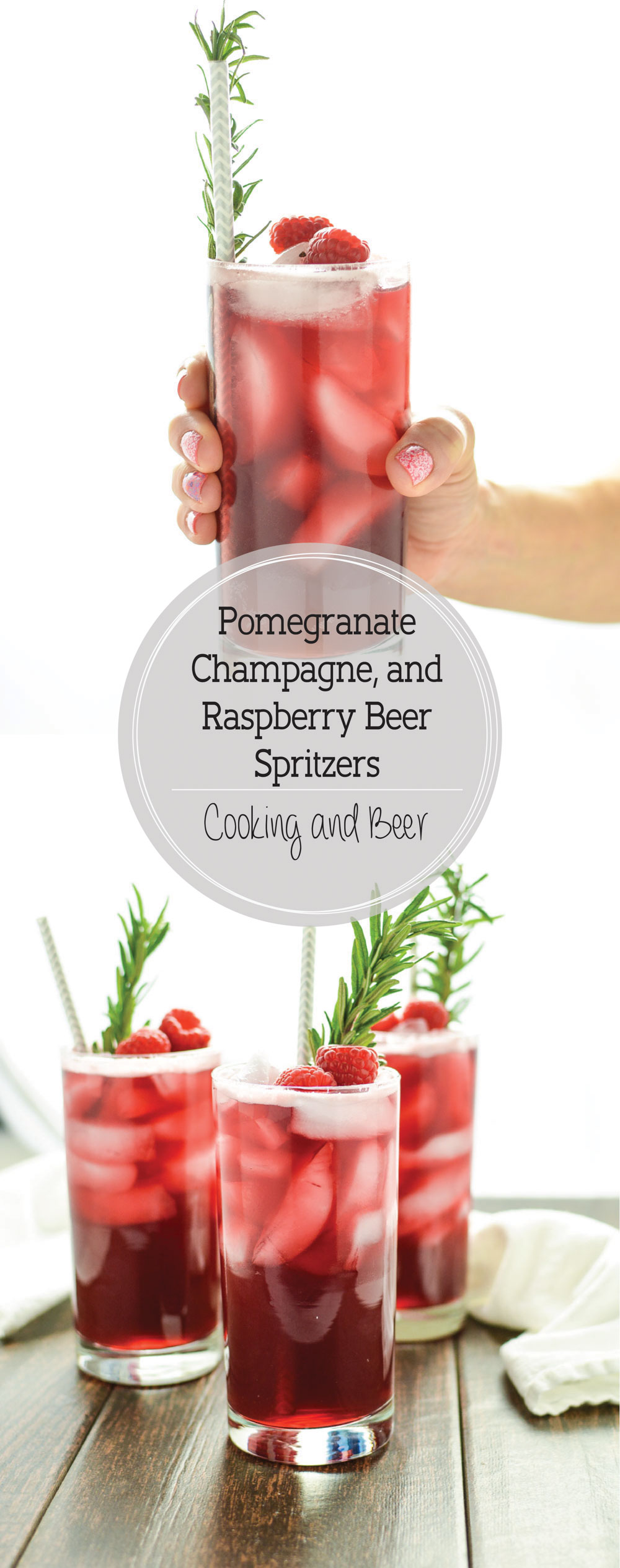 Pomegranate, Champagne and Raspberry Beer Spritzers: the perfect sweet drink to celebrate any time of year!
