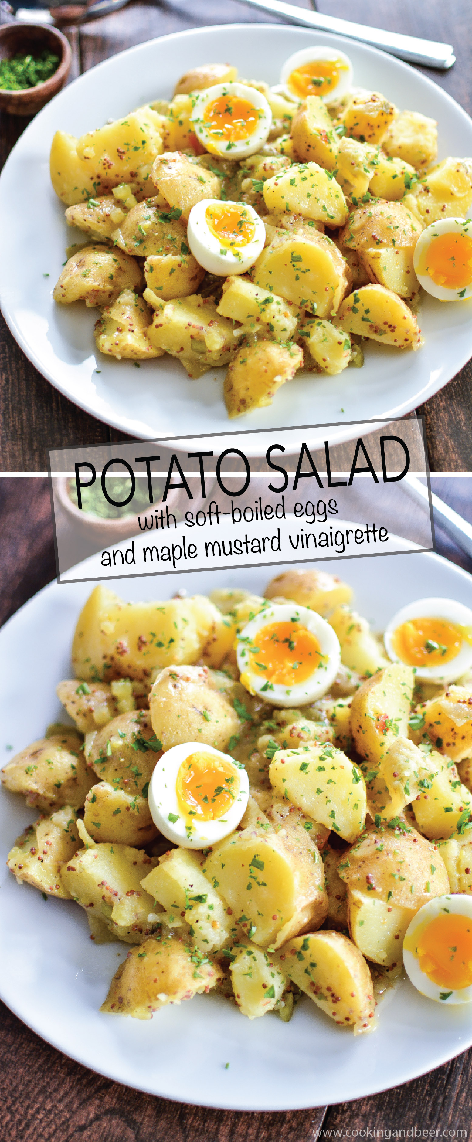 Potato Salad with Soft-Boiled Eggs and Maple Mustard Dressing is a summer picnic recipe that you need to add to your recipe box! | www.cookingandbeer.com