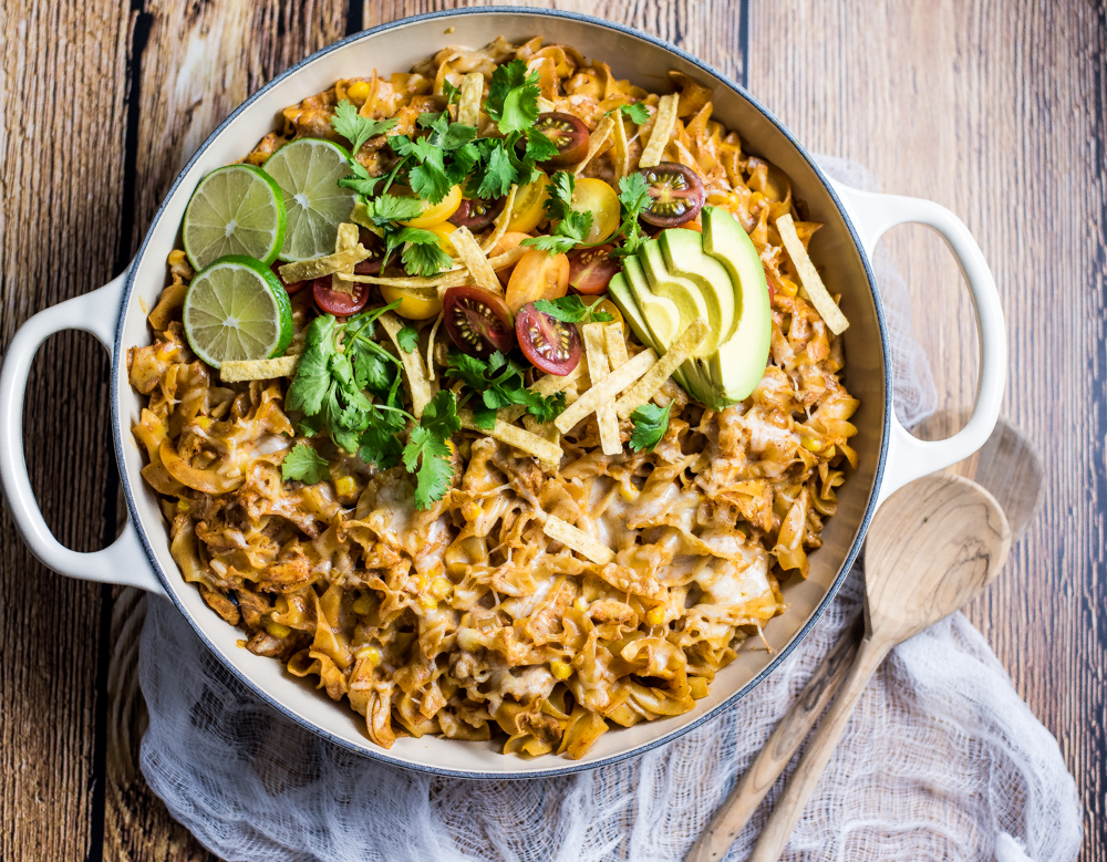 30 Minute Chicken Enchilada Pasta Bake is the perfect easy weeknight meal that's loaded with flavor and ready in under 30 minutes!