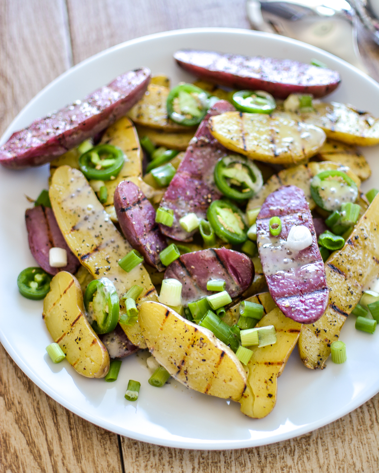 This recipe for grilled fingerling potato salad with chia seed ranch dressing is perfect for your next picnic! | www.cookingandbeer.com