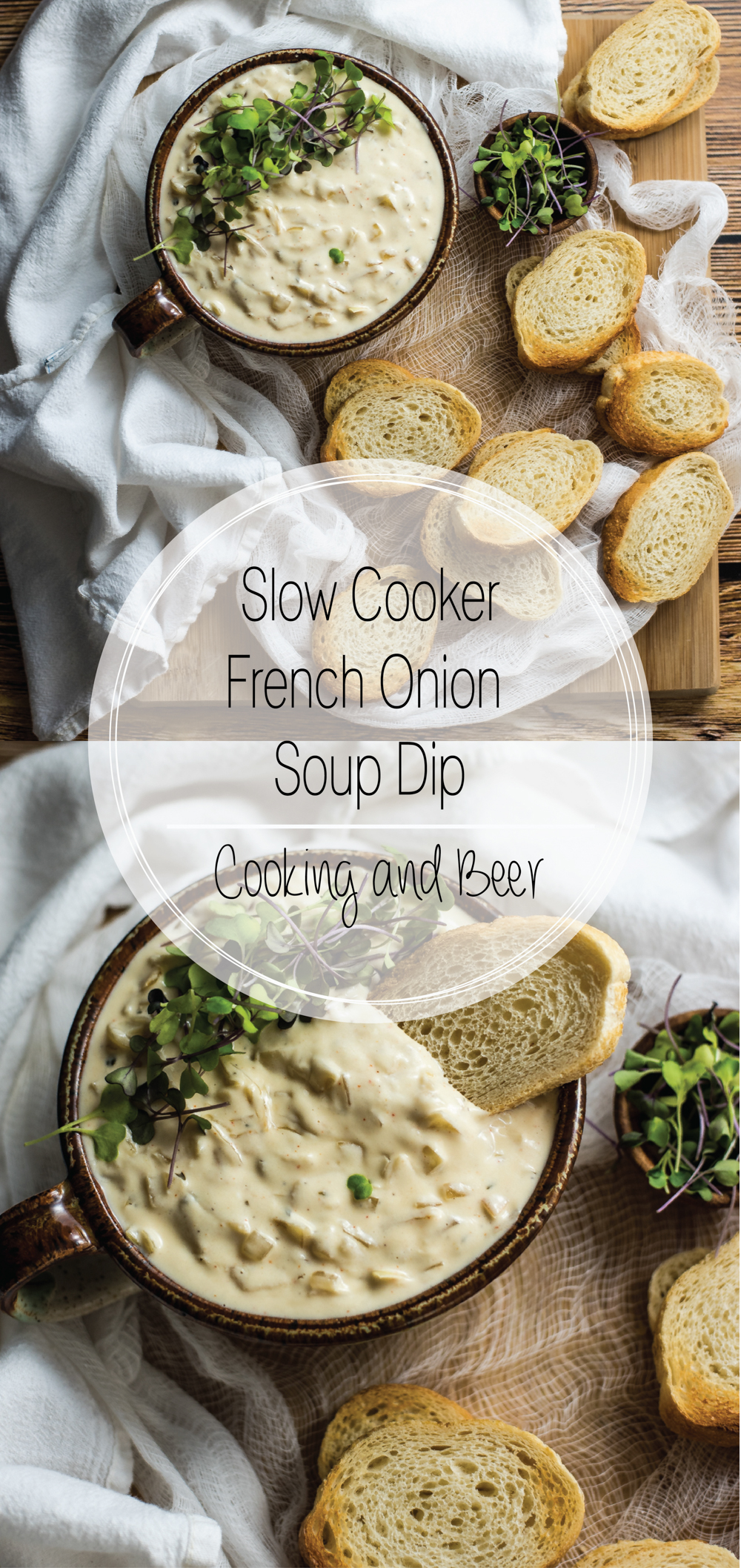 Slow cooker french onion soup dip is a fun take on french onion soup. It's perfect for a date night in or a game day party!