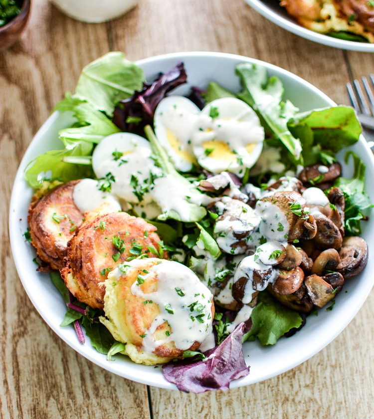 Recipe for Fried Ricotta Cheese Salad with Sautéed Mushrooms is a fun way to get that daily green intake! | www.cookingandbeer.com