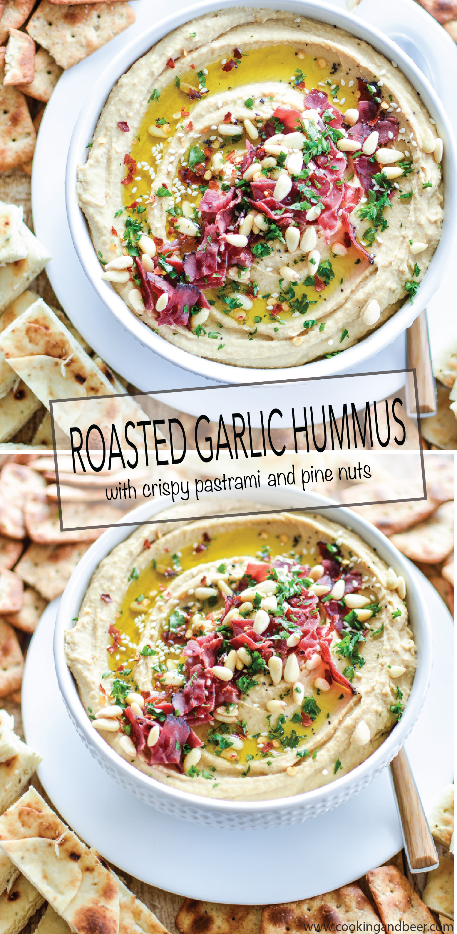 Roasted Garlic Hummus with Crispy Pastrami: the perfect quick appetizer for your next get-together or dinner party! | www.cookingandbeer.com