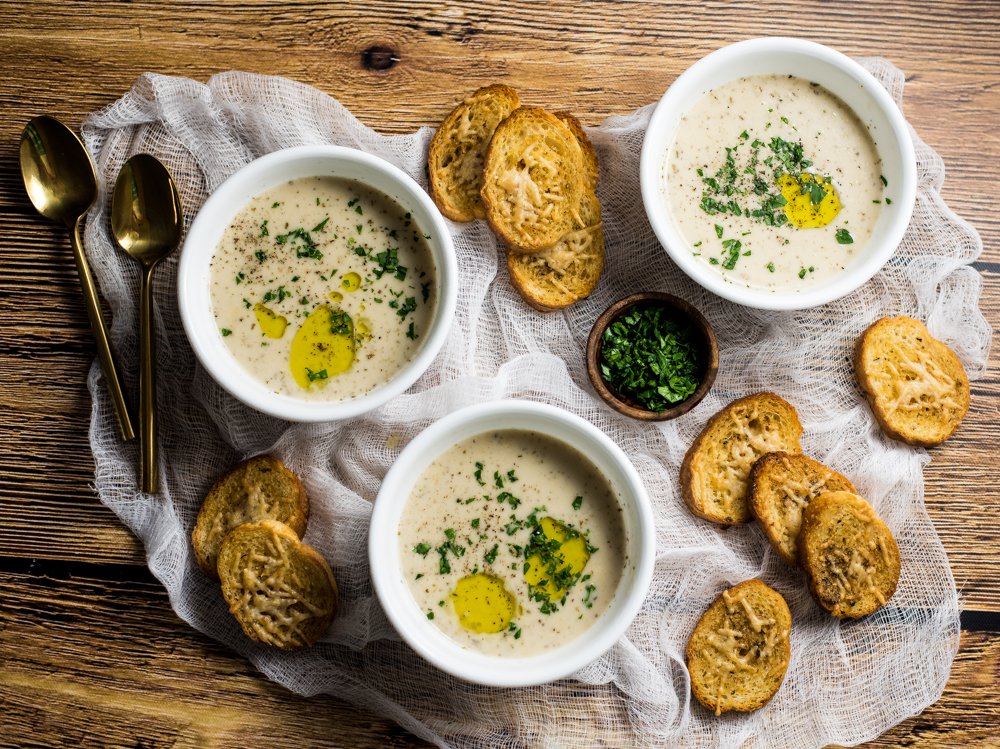 Roasted Garlic Soup with Chicken is the perfect warm and comforting appetizer recipe of main course soup. It is bursting with flavor!