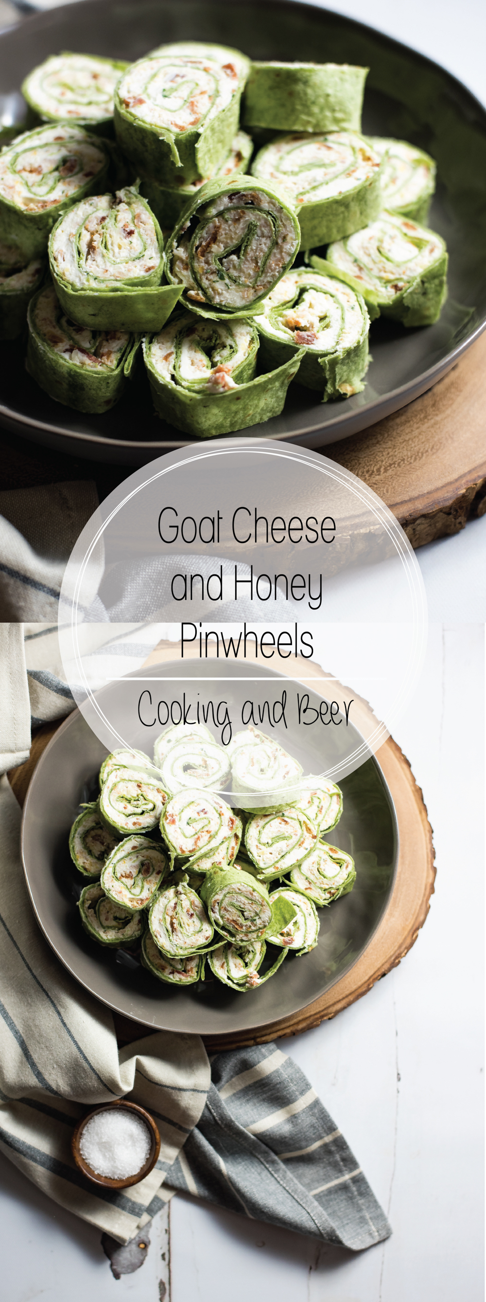 Goat cheese and honey turkey pinwheels are the perfect bite-sized snack. They are great for game day shindigs or dinner parties!