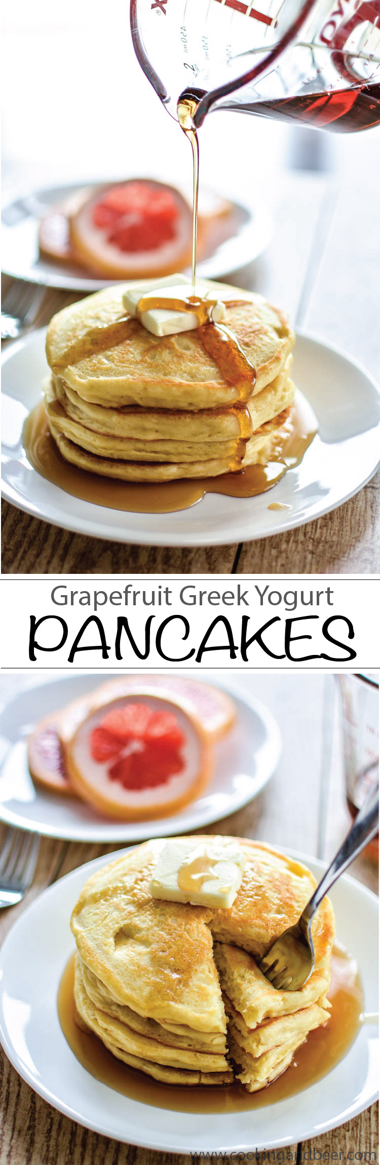 Grapefruit Greek Yogurt Pancakes | www.cookingandbeer.com
