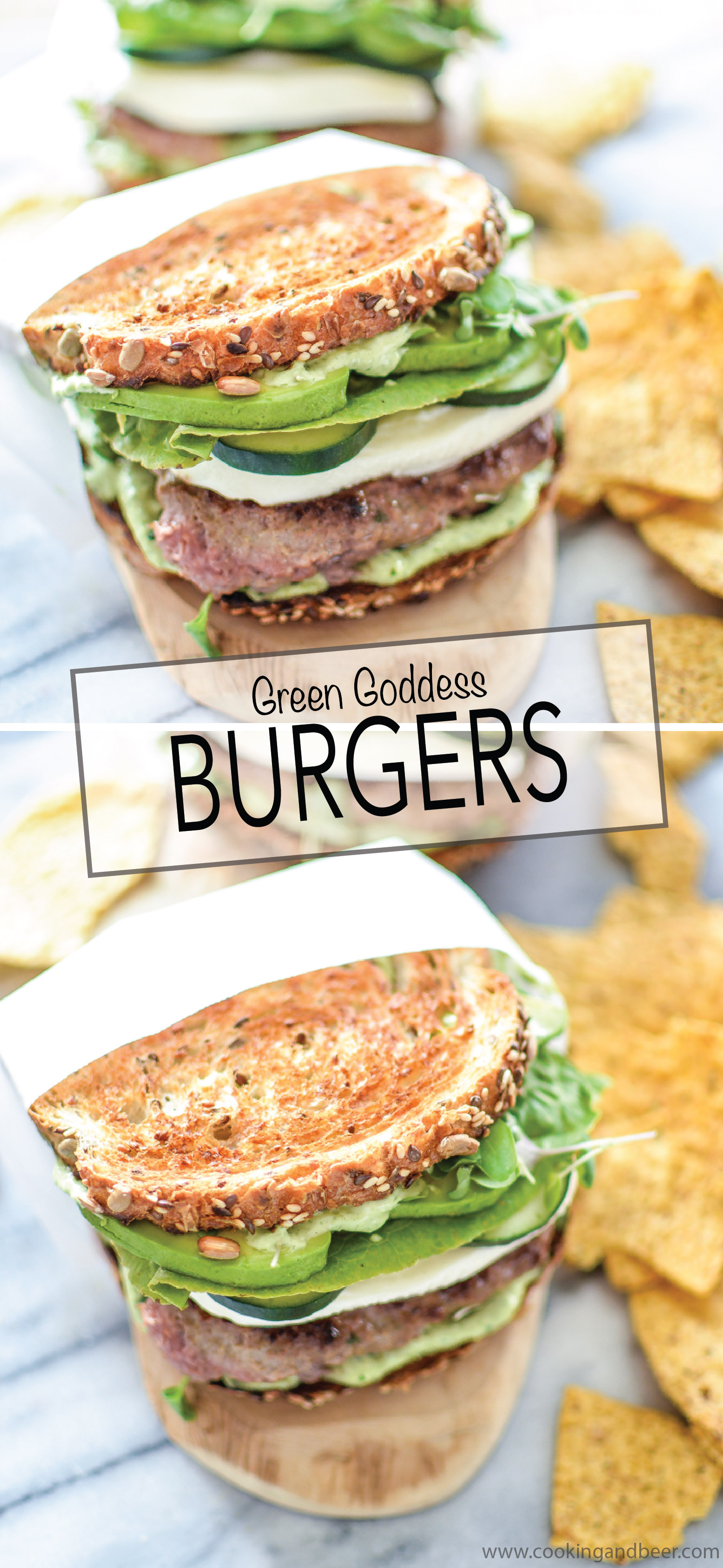Green Goddess Burgers are a healthier way to spruce up your burger recipe! | www.cookingandbeer.com