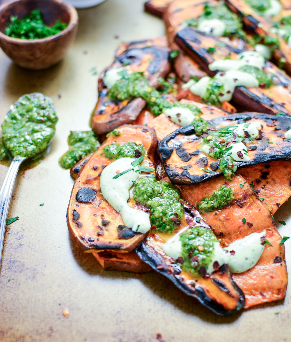 Grilled Sweet Potatoes with Cilantro Cream and Quick Chimichurri is the perfect side dish recipe to celebrate summer!