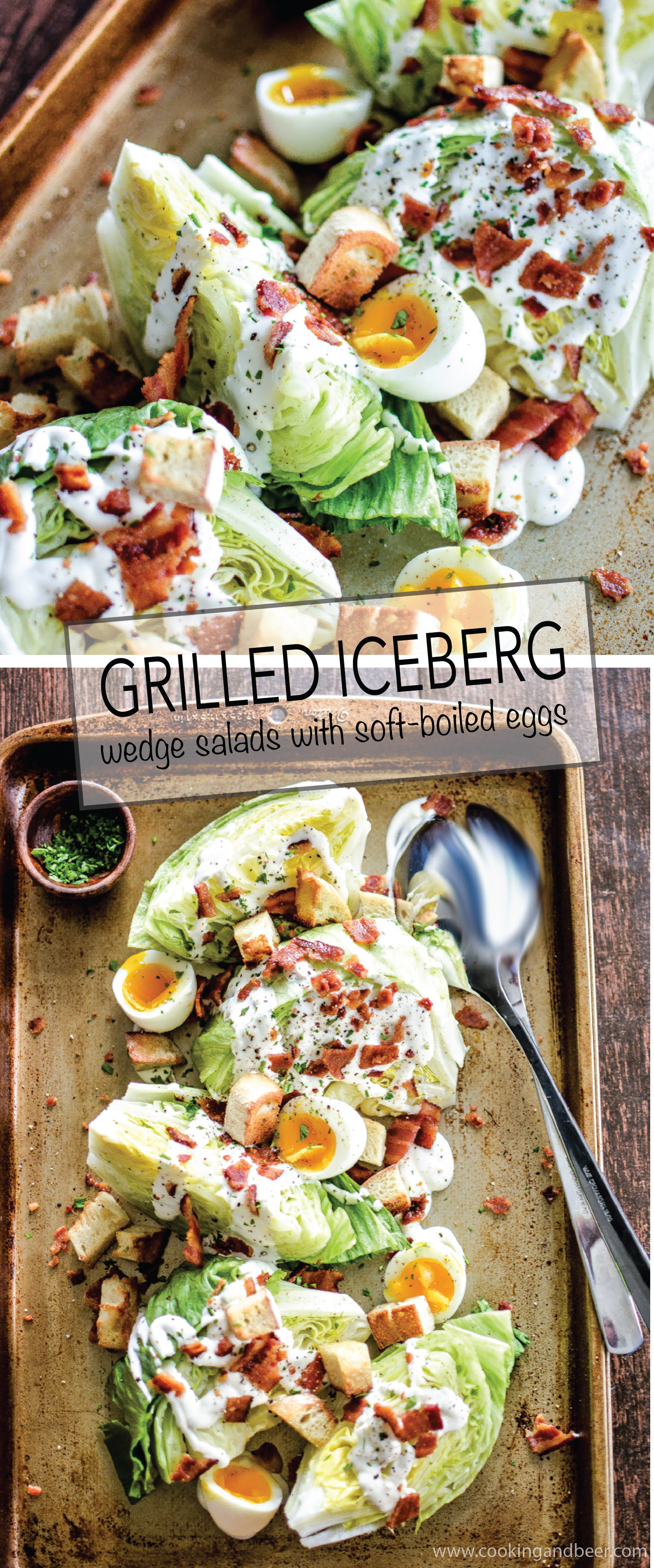 Iceberg Wedge Salads with Grilled Bacon is a recipe to feed a hungry crowd! It packs a lot of flavor and a crisp freshness! | www.cookingandbeer.com