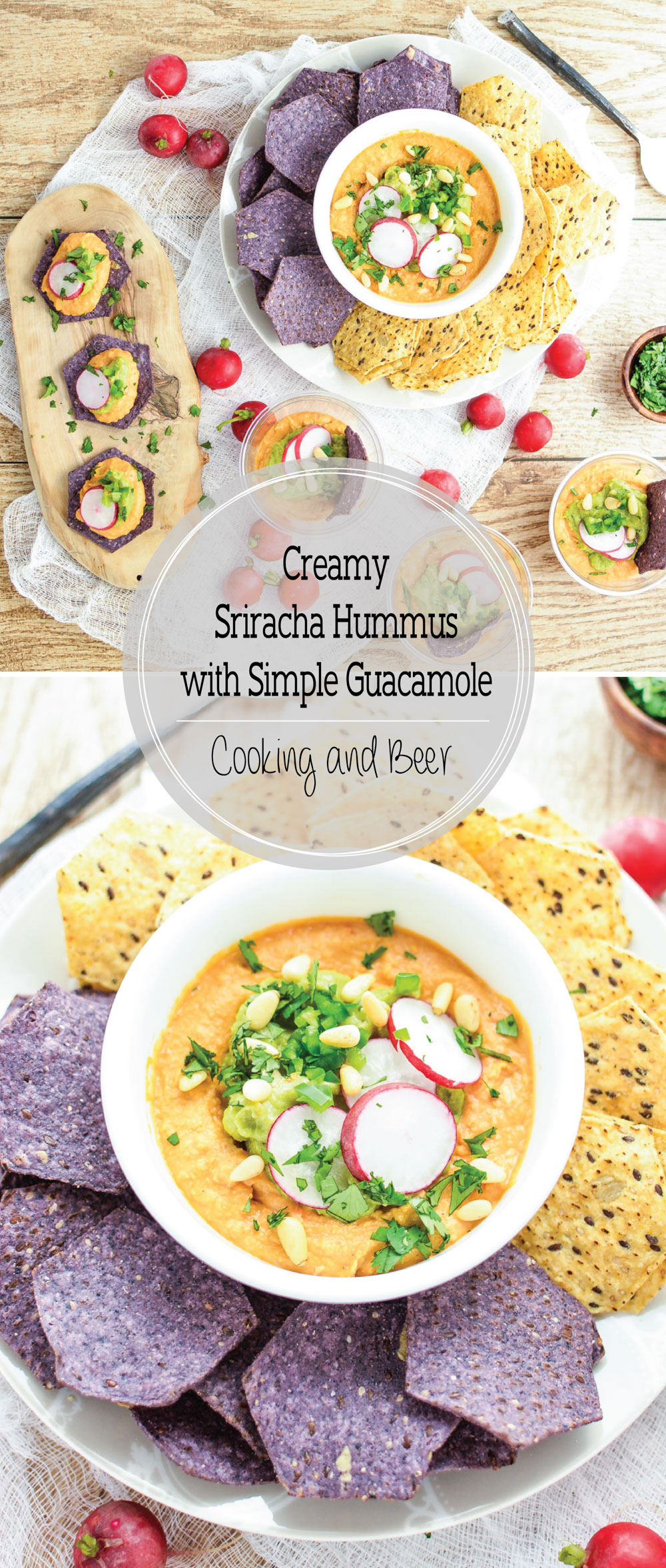 Creamy Sriracha Hummus with Simple Guacamole is the perfect dip recipe for your game day menu!