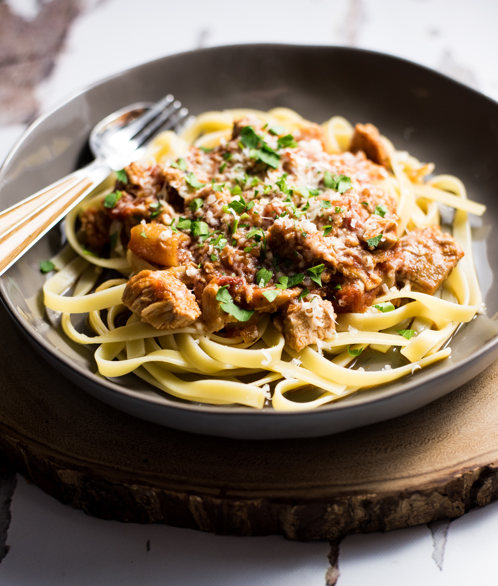 Looking for a way to use up that leftover holiday ham? This leftover ham ragu with pork roast added is the perfect recipe for such an occasion!