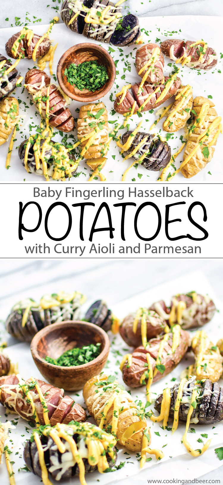 Baby Fingerling Hasselback Potatoes with Curry Aioli recipe is the perfect side dish or appetizer! | www.cookingandbeer.com