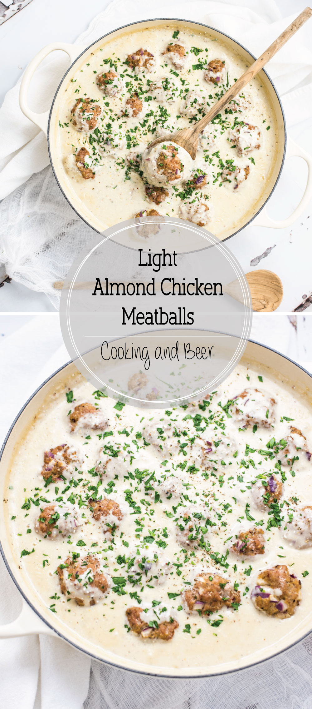 Light Almond Chicken Meatballs in Cauliflower Cream Sauce is a family-friendly weeknight meal that packs a lot of flavor, yet stays on the lighter side!