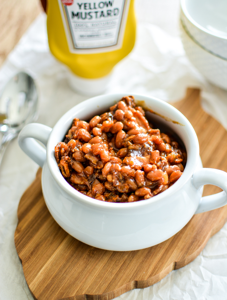 Slow Cooker Brown Sugar and Mustard Baked Beans with Bacon Recipe!   www.cookingandbeer.com