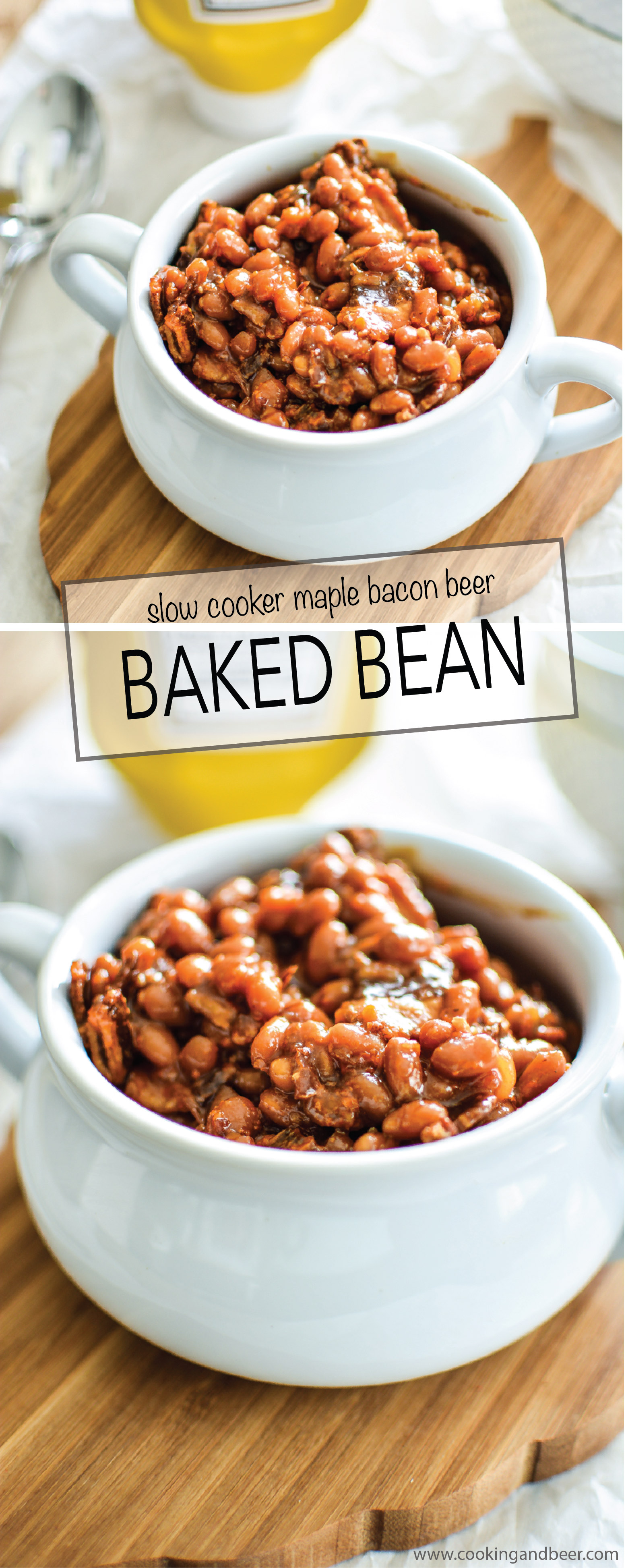 Slow Cooker Brown Sugar and Mustard Baked Beans with Bacon Recipe! | www.cookingandbeer.com