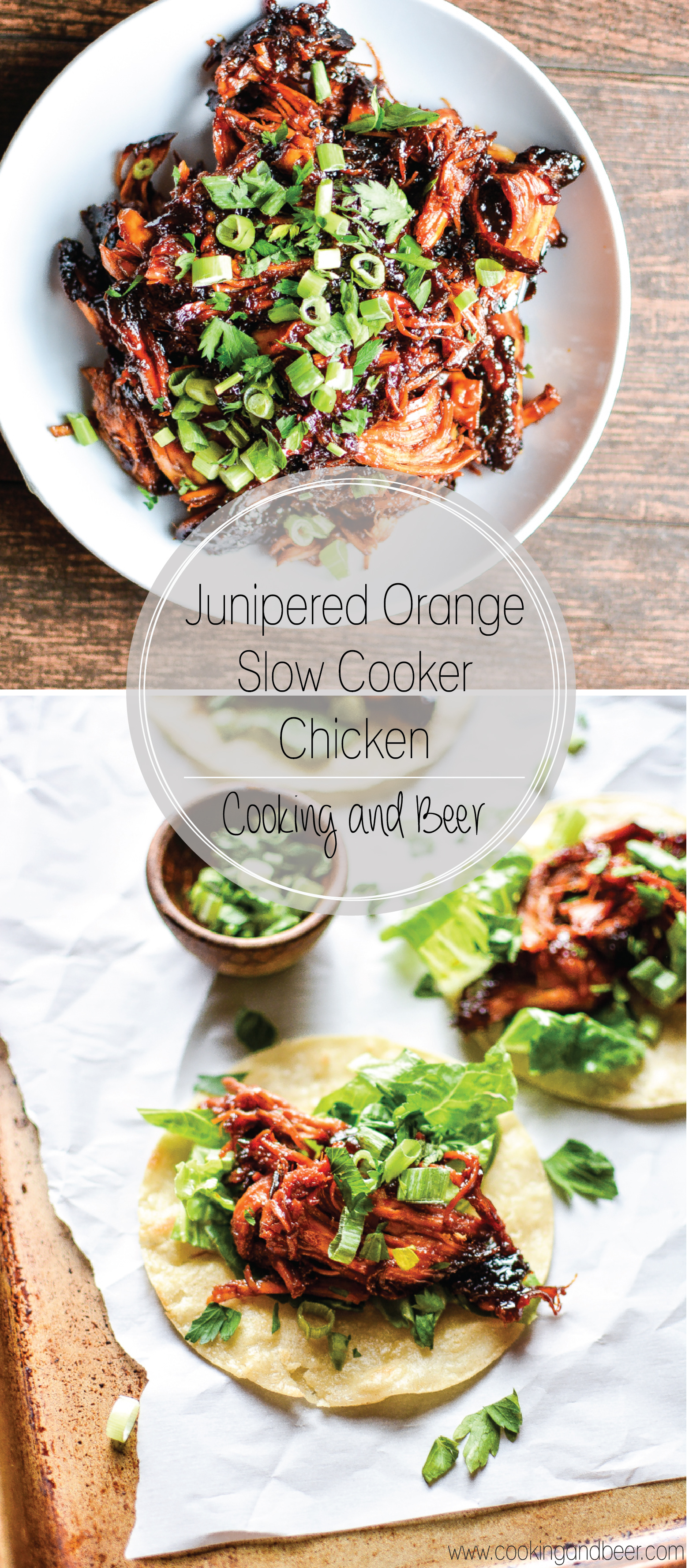 Junipered Orange Slow Cooker Chicken: a weeknight dinner recipe that's easy, delicious and packed full of flavor! | www.cookingandbeer.com
