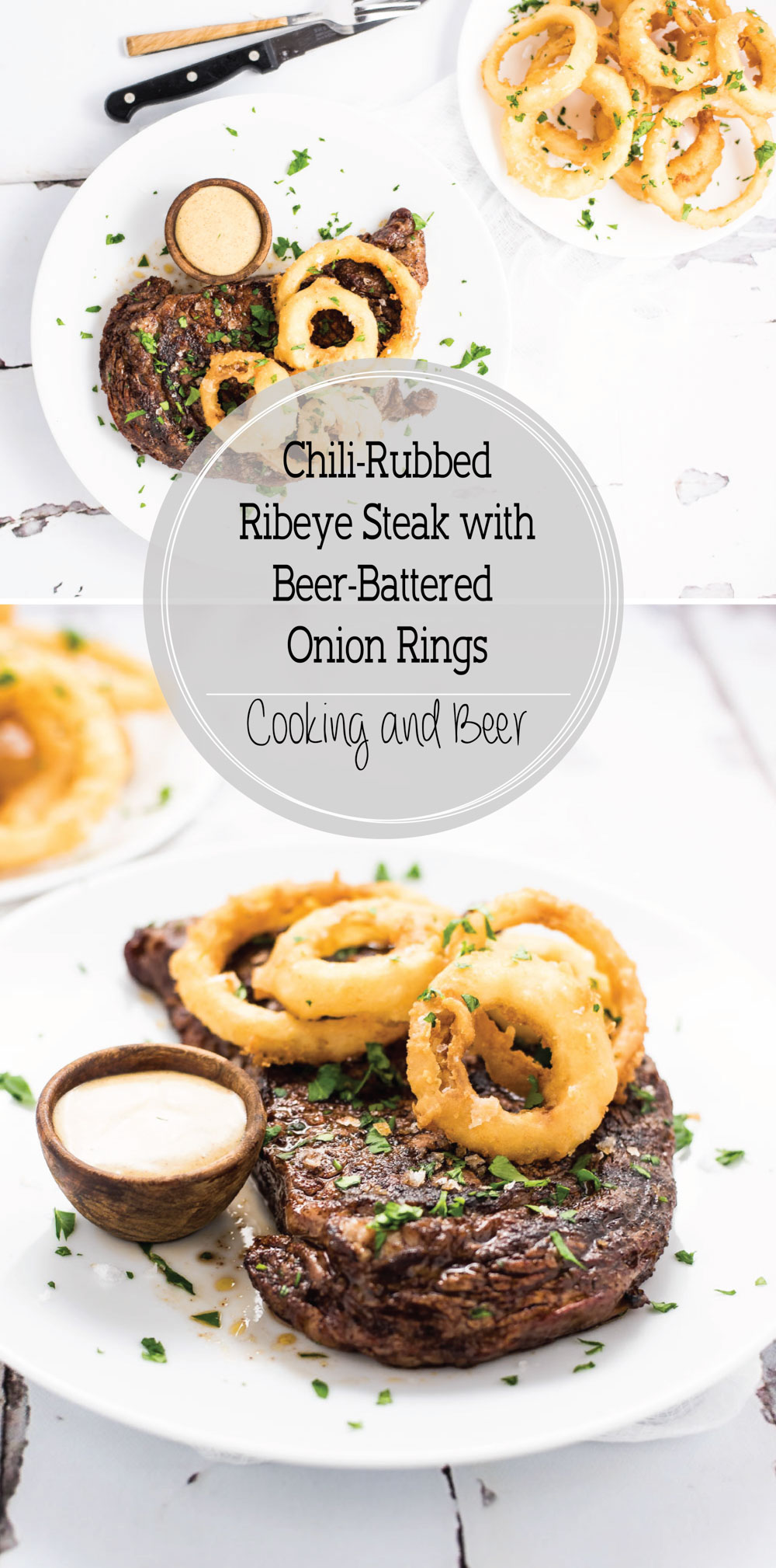Create a meal worthy of a steakhouse with this chili-rubbed ribeye Steak with beer-battered onion rings!