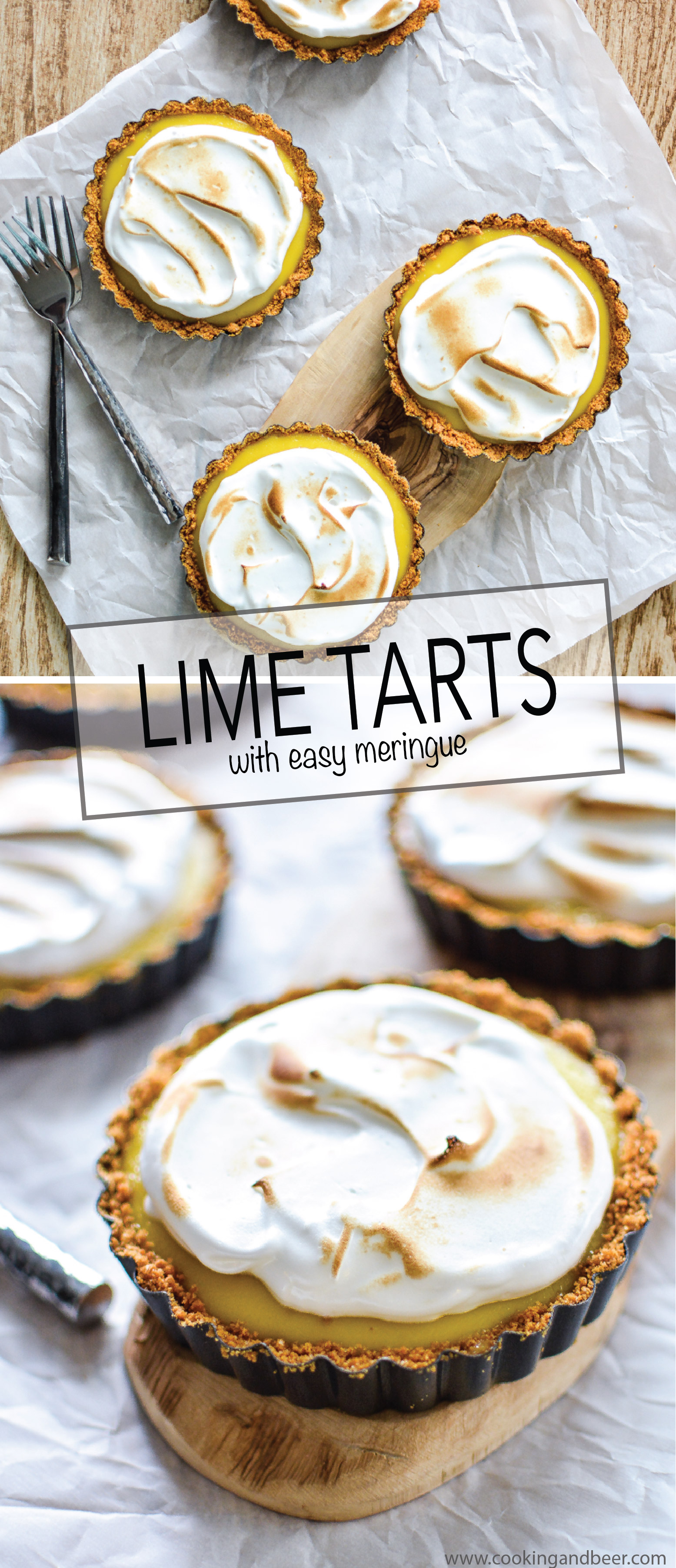 Made of an addicting lime filling and a silky meringue, these lime meringue tarts are perfect for summer! | www.cookingandbeer.com