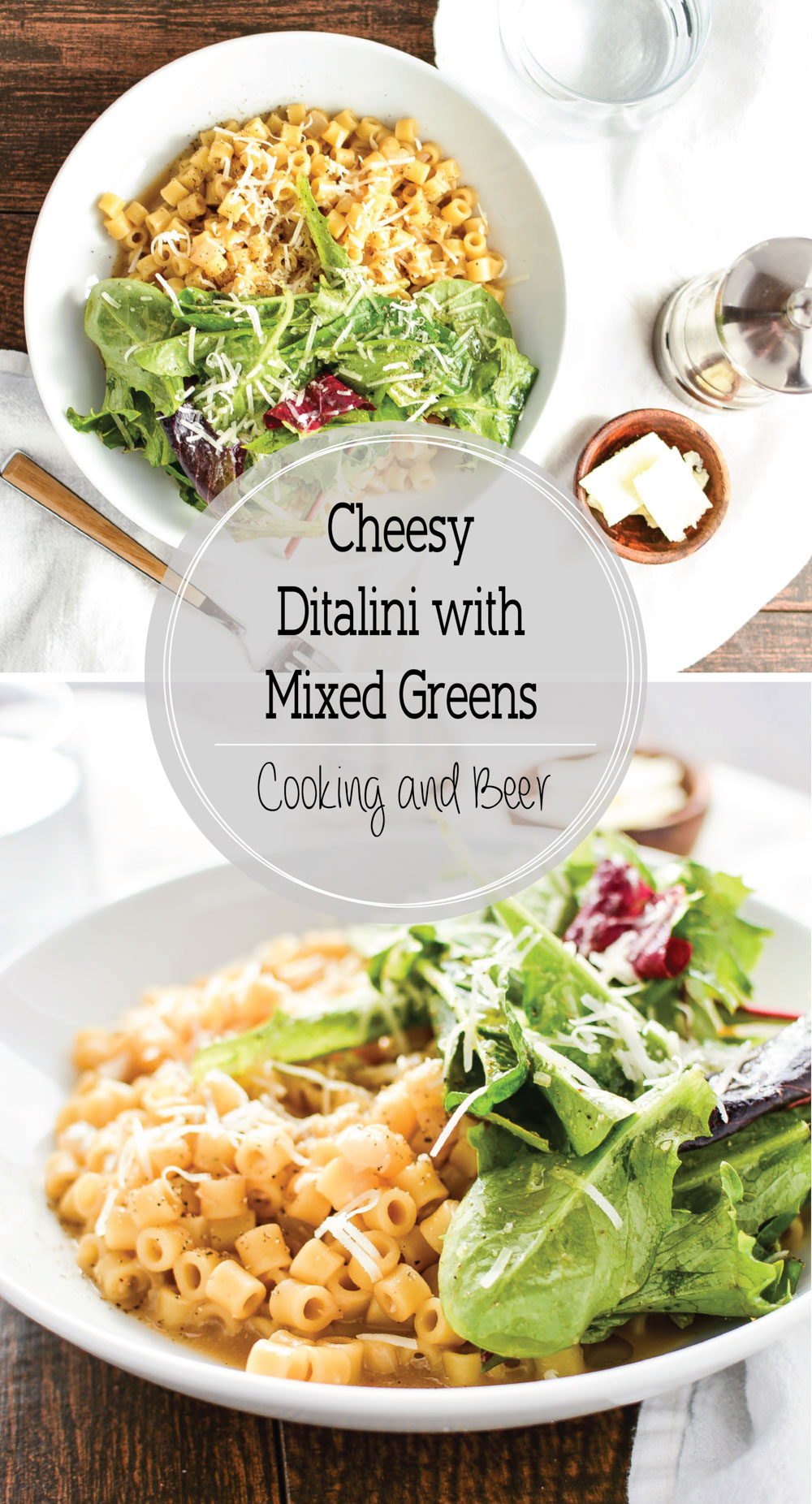 Cheesy Ditalini with Mixed Greens is the perfect light lunch!