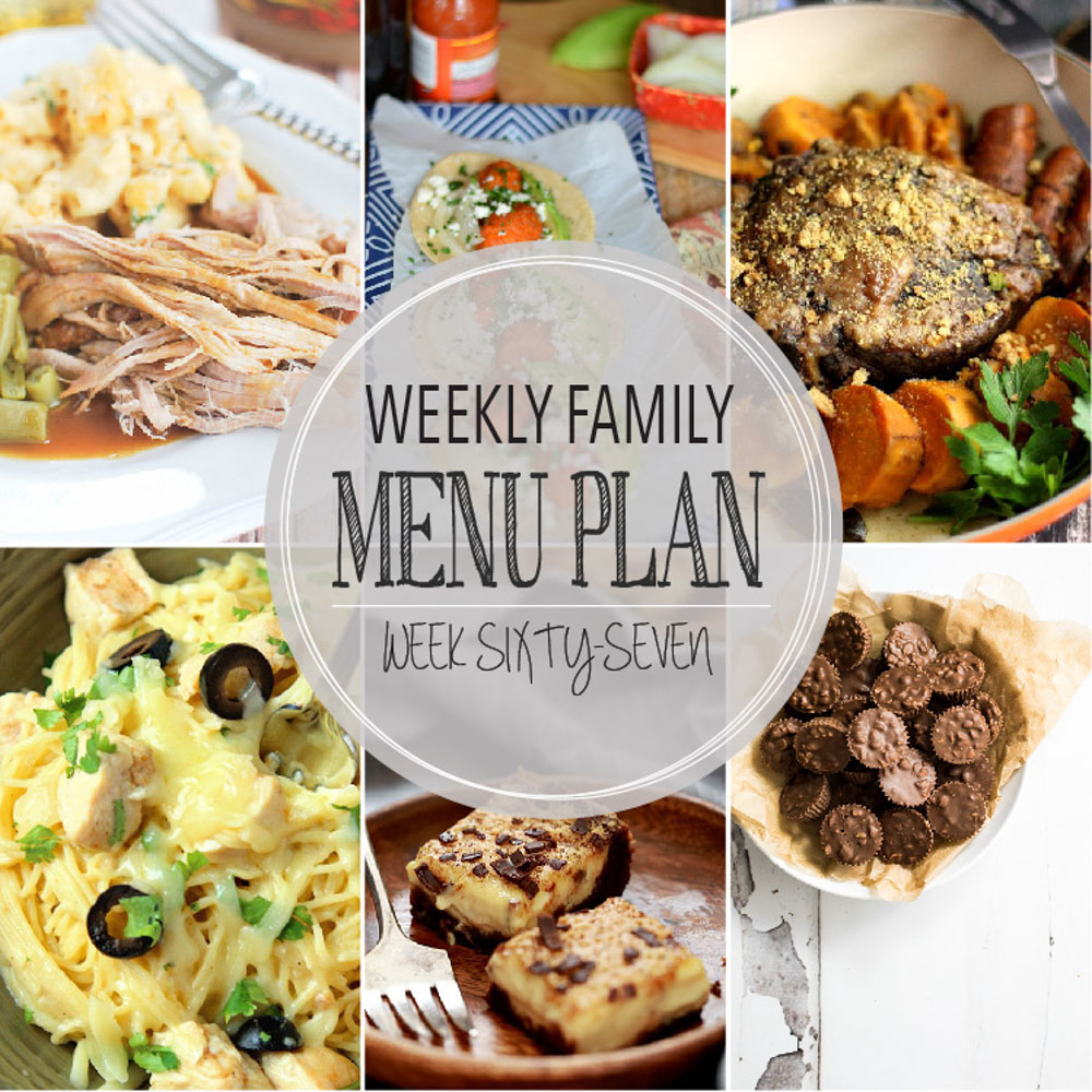 Weekly Family Menu Plan - Week Sixty-Seven is brought to you by a group of food bloggers who love to plan ahead! A weekly edition of thoughtfully prepared recipes is rounded up to get you through those busy weeks! | www.cookingandbeer.com
