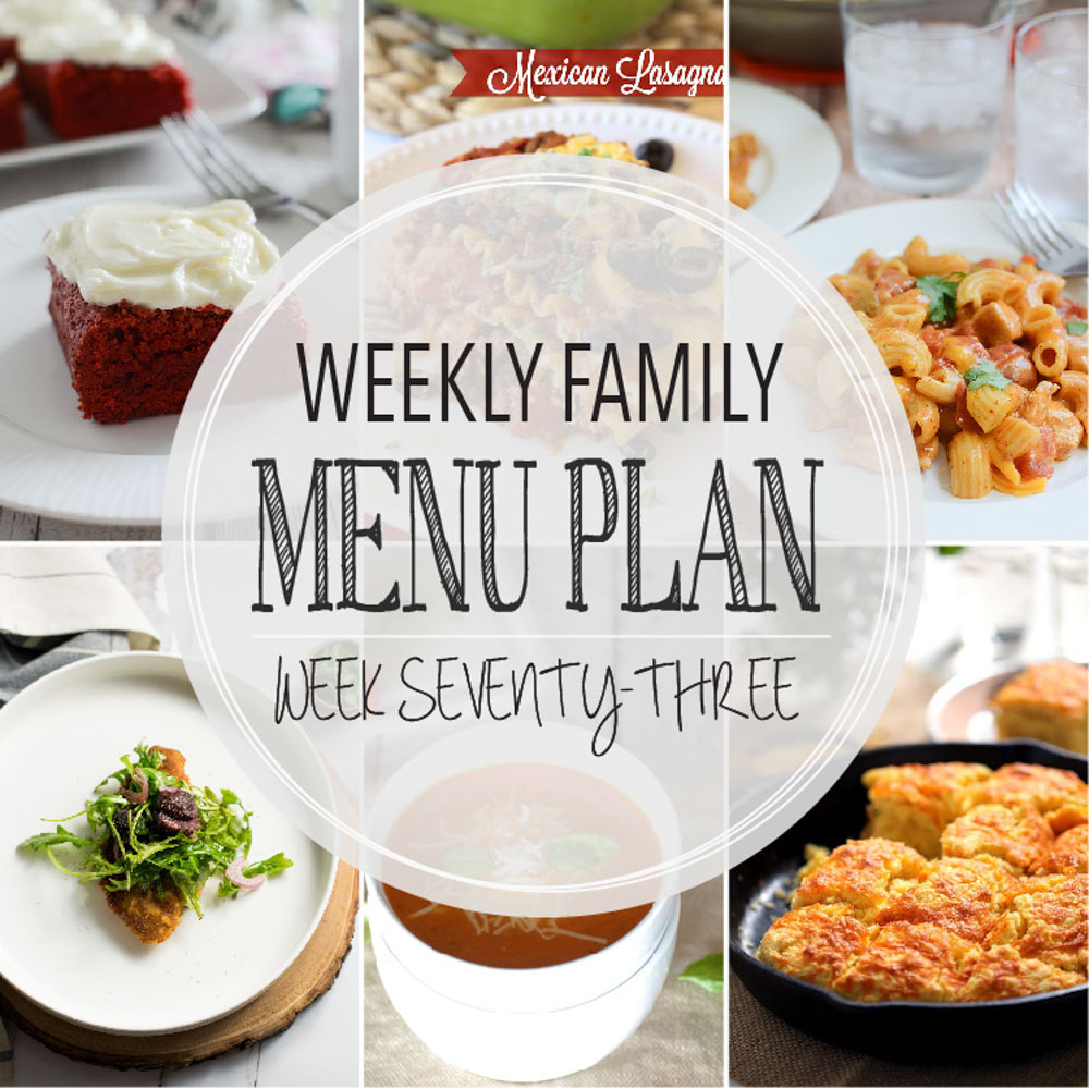 Weekly Family Menu Plan - Week Seventy-Three is brought to you by a group of food bloggers who love to plan ahead! A weekly edition of thoughtfully prepared recipes is rounded up to get you through those busy weeks! | www.cookingandbeer.com