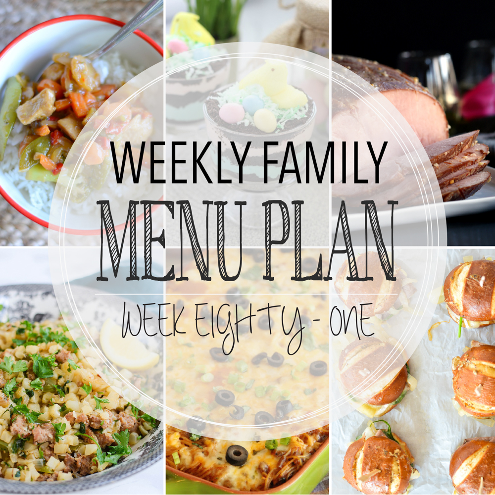 Weekly Family Menu Plan - Week Eighty-One is brought to you by a group of food bloggers who love to plan ahead! A weekly edition of thoughtfully prepared recipes is rounded up to get you through those busy weeks! | www.cookingandbeer.com