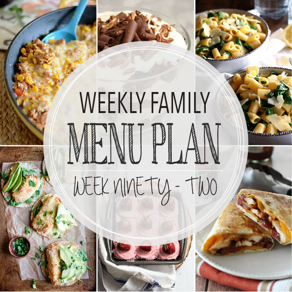Weekly Family Menu Plan - Week Ninety-Two is brought to you by a group of food bloggers who love to plan ahead! A weekly edition of thoughtfully prepared recipes is rounded up to get you through those busy weeks! | www.cookingandbeer.com