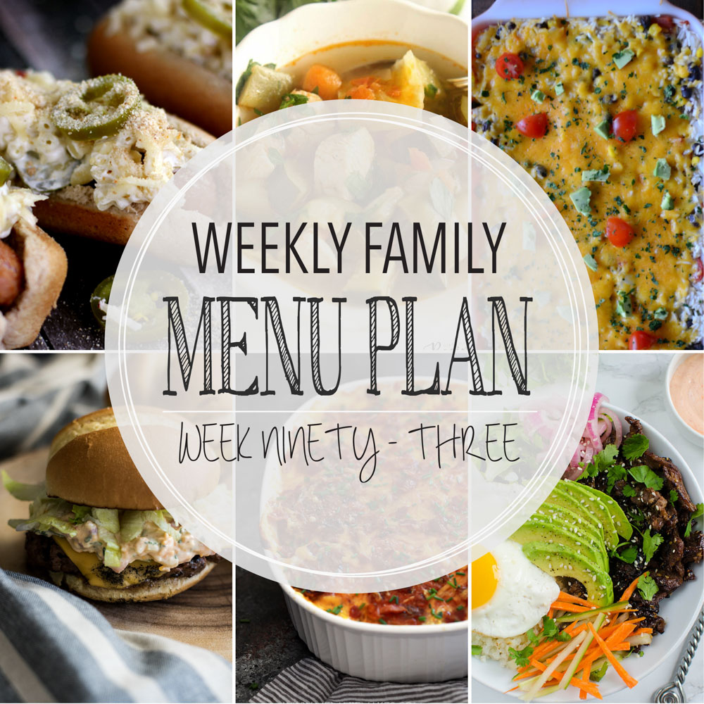 Weekly Family Menu Plan - Week Ninety-Three is brought to you by a group of food bloggers who love to plan ahead! A weekly edition of thoughtfully prepared recipes is rounded up to get you through those busy weeks! | www.cookingandbeer.com