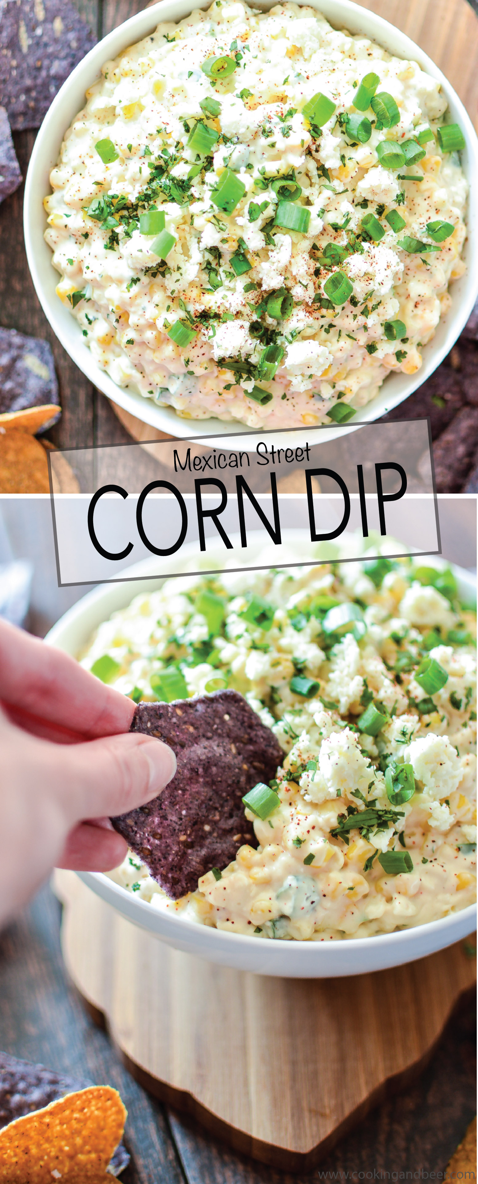 Mexican Street Corn Dip is the perfect appetizer to serve at your Cinco de Mayo party! | www.cookingandbeer.com