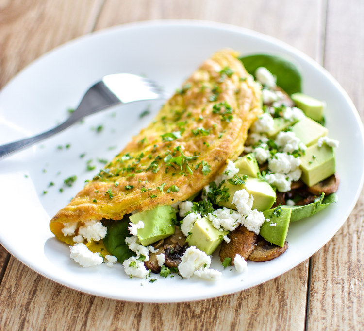 Mushroom And Goat S Cheese Omelet With Spinach And Avocado