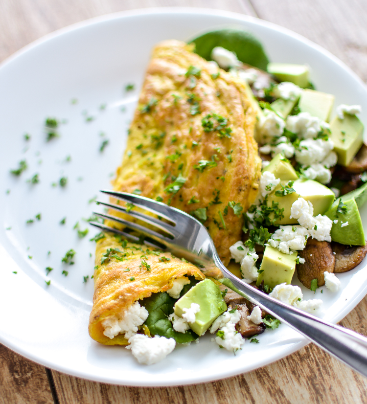 Mushroom and Goat's Cheese Omelet with Spinach and Avocado