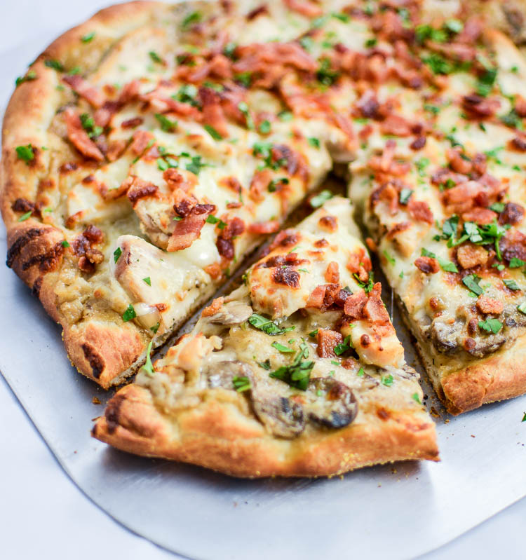 Creamy Mushroom And Chicken Pizza With Bacon And Basil Www Cookingandbeer Com