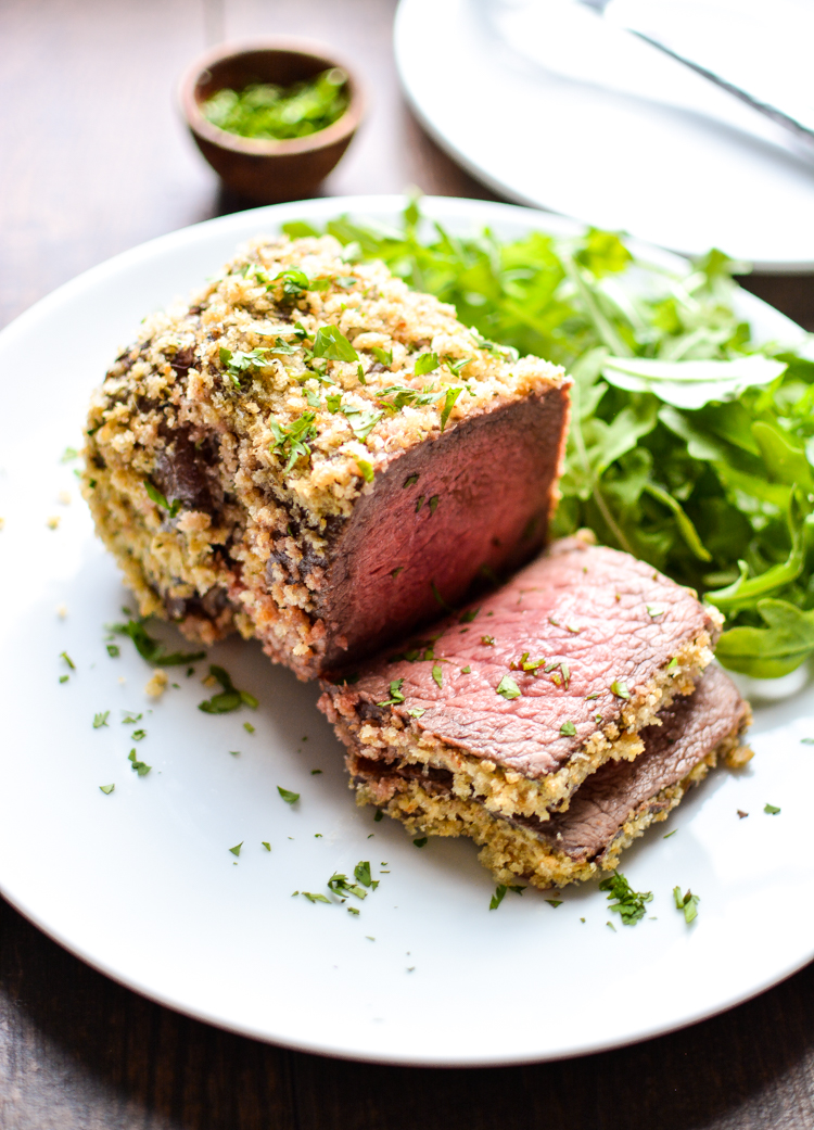 Roast Beef with Garlic Mustard Crust: a simple, yet comforting dinner recipe that's perfect for Sunday supper.