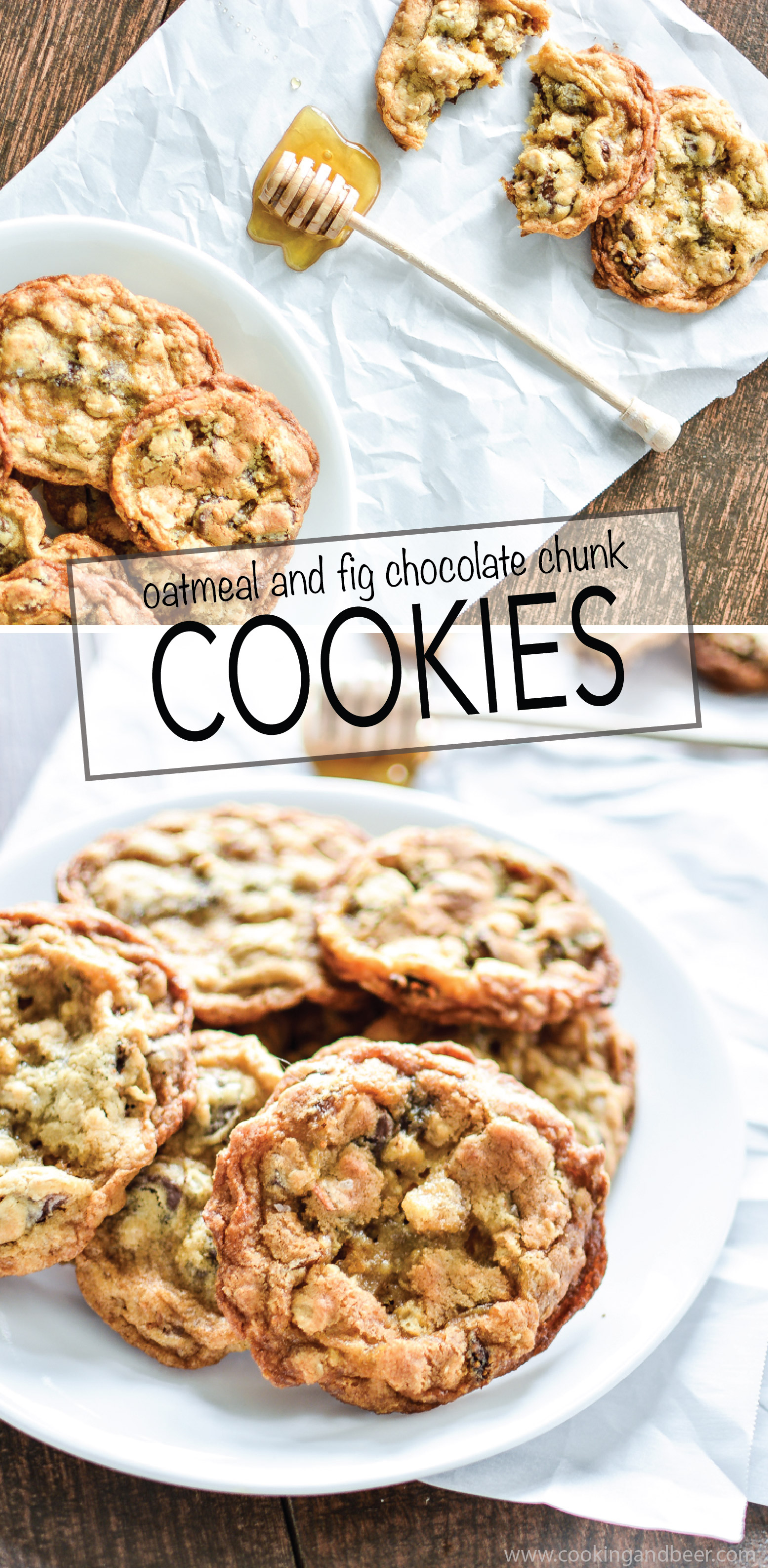 Oatmeal and Fig Chocolate Chunk Cookies are a fun spin on traditional chocolate chip cookies! | www.cookingandbeer.com