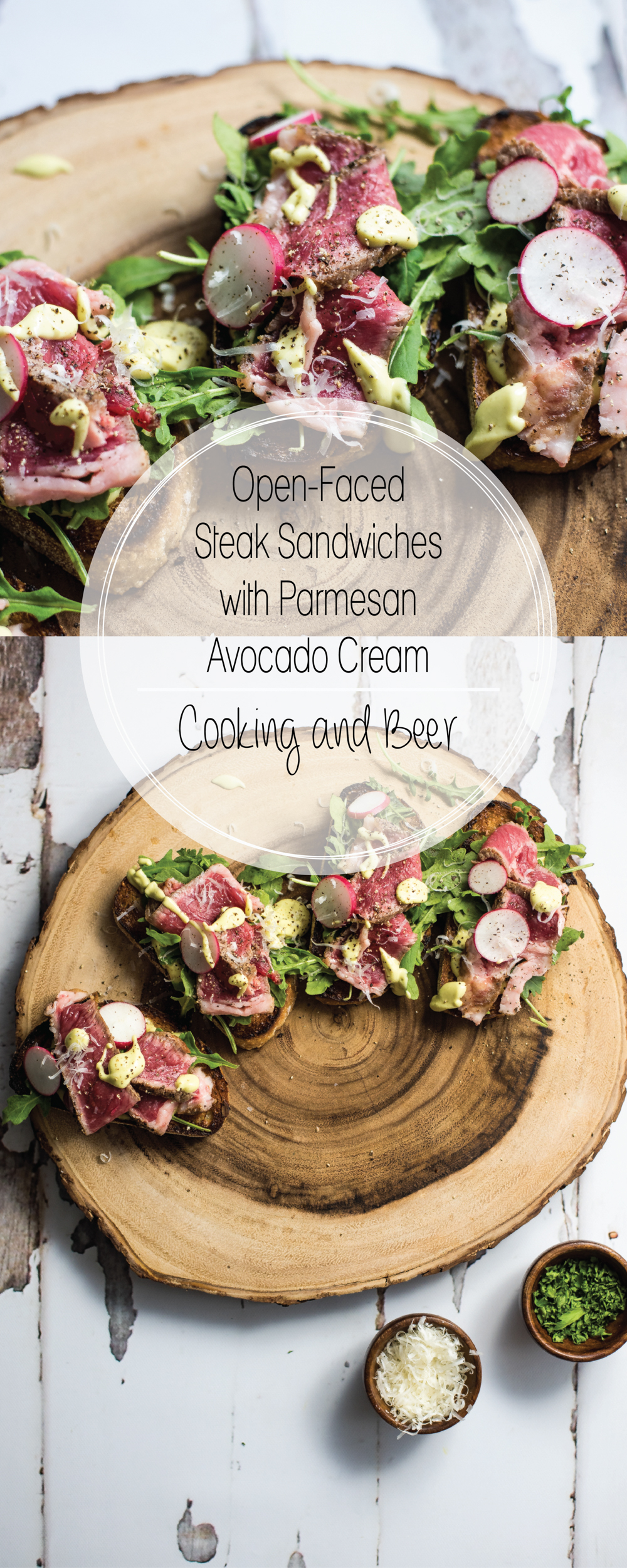 Open-Faced Steak Sandwiches with Parmesan Avocado Cream are the perfect appetizer or quick lunch recipe. Serve them at your next get together!