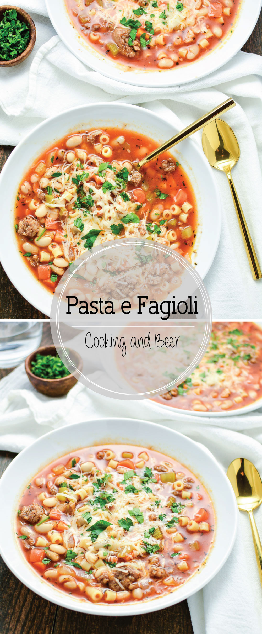 Pasta e Fagioli is a classic Italian soup. This version combines ham and sausage in one glorious veggie-loaded soup!