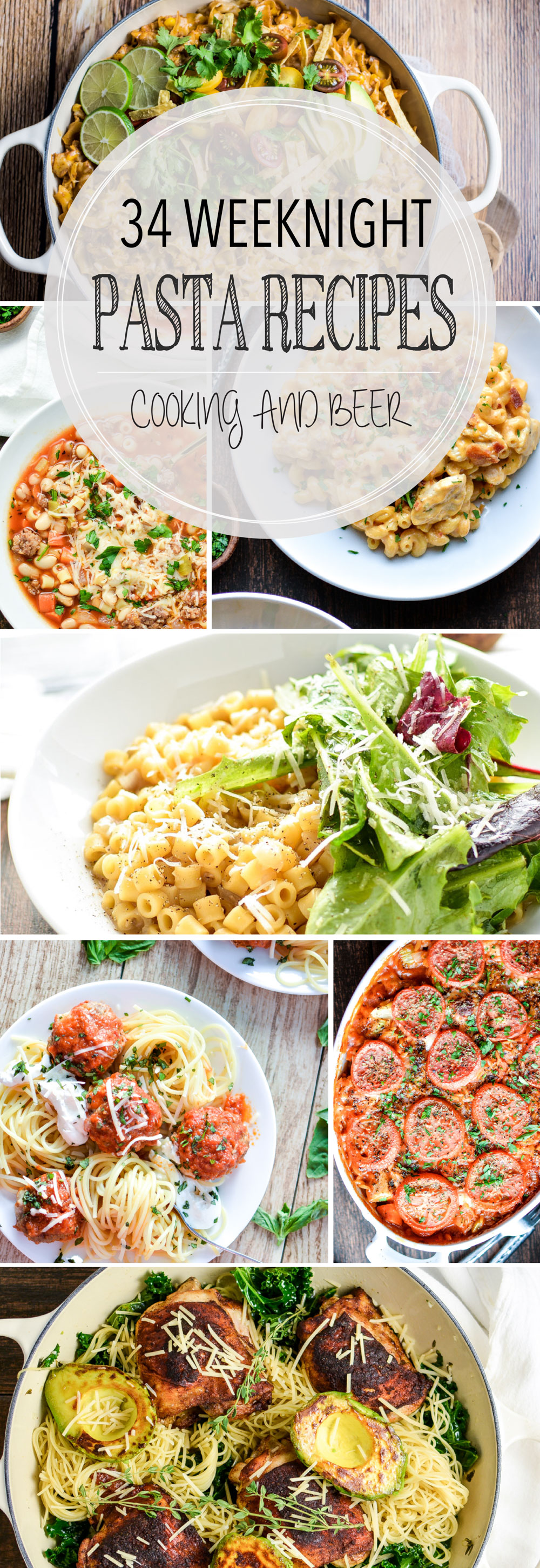 From casseroles to soup and from 5-ingredient to vegetarian, here are 34 family-friendly weeknight pasta recipes to get you through those busy weeks!