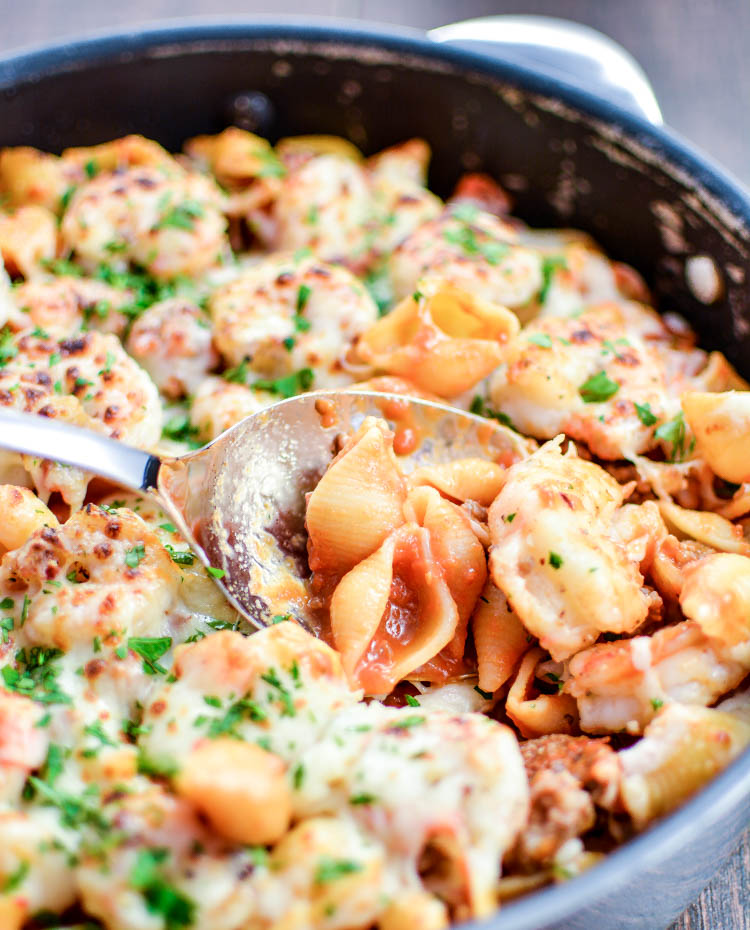 Shrimp and Sausage Skillet Pasta Bake with Vodka Sauce | www.cookingandbeer.com