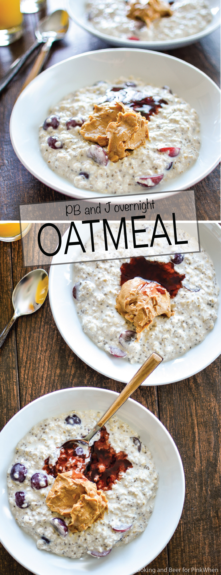 PB and J Overnight Oatmeal: a quick and nutritious way to start your day! | www.cookingandbeer.com