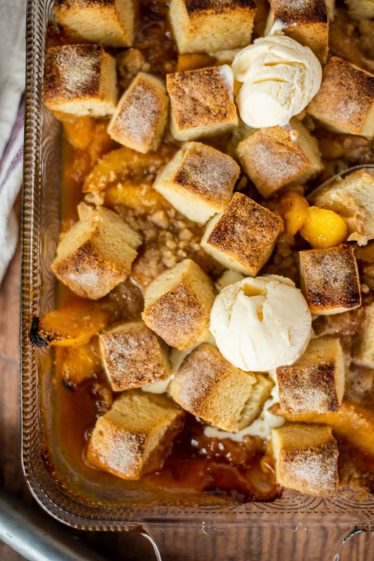 Peach Cobbler with Homemade Buttermilk Biscuits