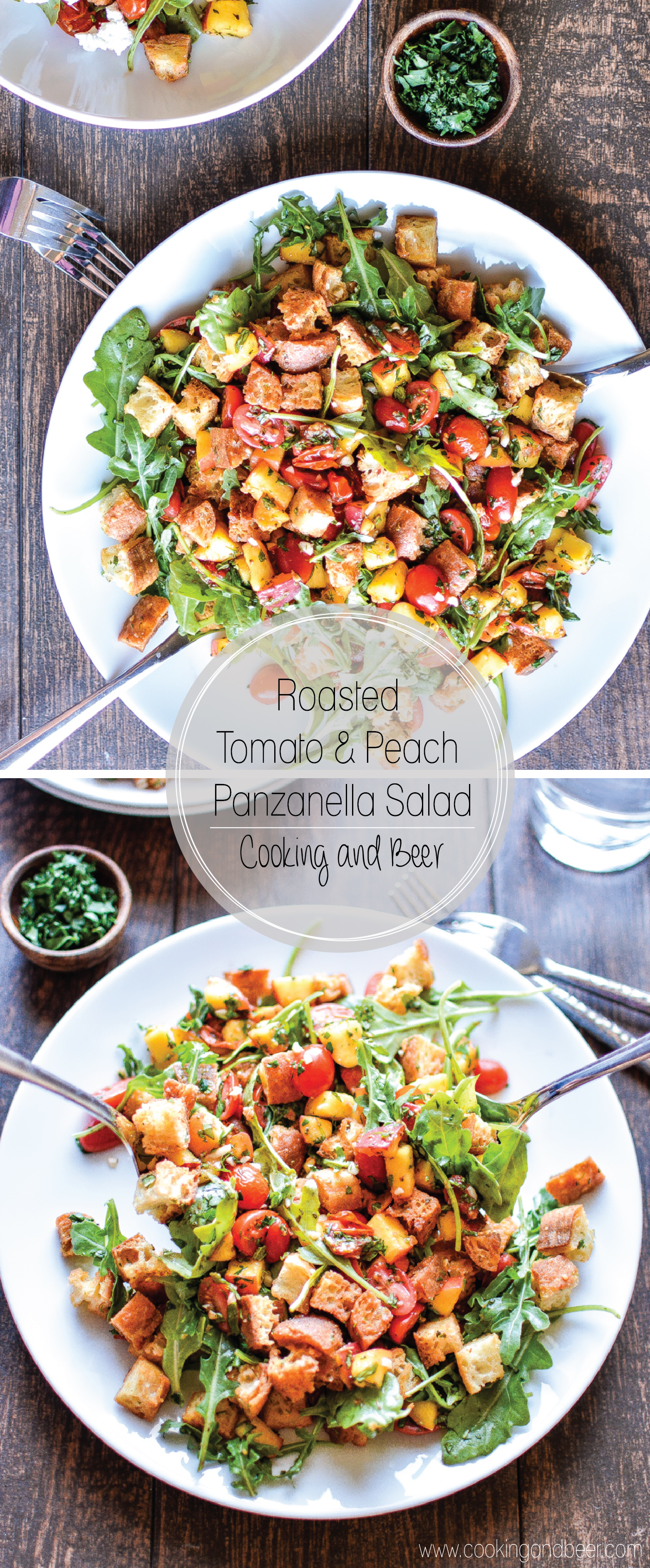 Roasted Peach Panzanella Salad with Blistered Tomatoes is a dish that's perfect for those warm summer months. | www.cookingandbeer.com