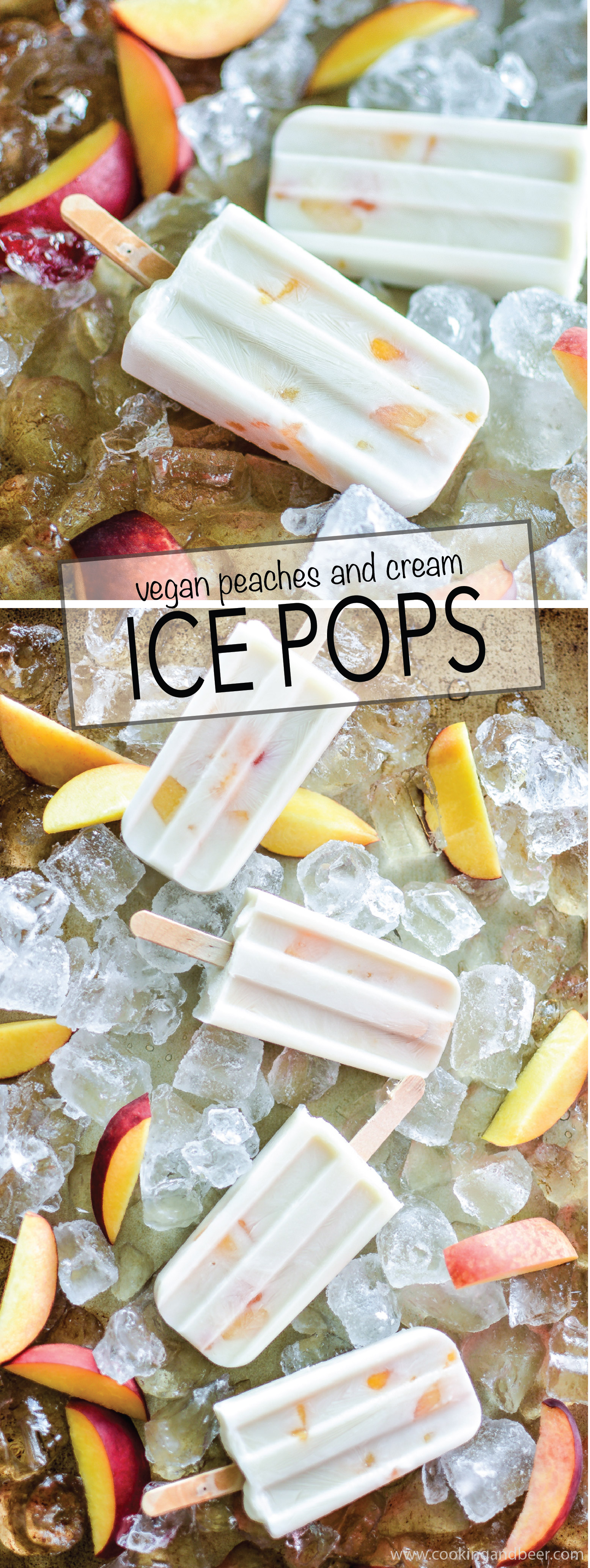 These vegan peaches and cream ice pops are the perfect recipe to help you cool down this summer. They are light, healthy and utterly delicious! | www.cookingandbeer.com