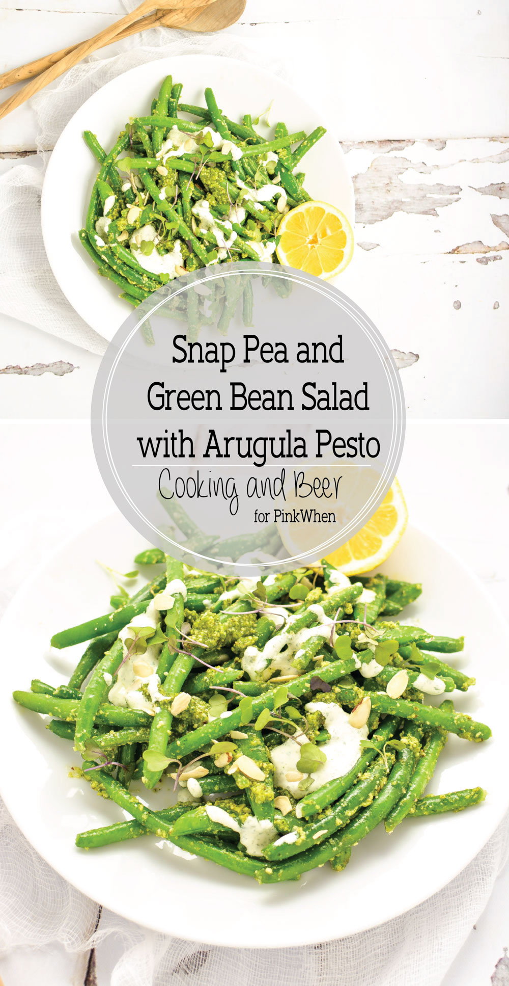 Snap Pea and Green Bean Salad with Arugula Pesto is a light and healthy side dish to serve this summer!