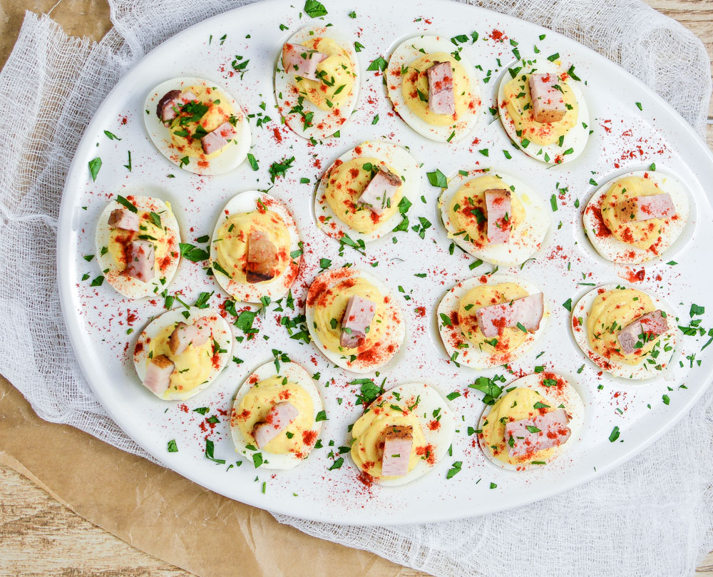 Beer-Braised Pork Belly Deviled Eggs are a must-have recipe for Easter brunch or your next spring or summer picnic!