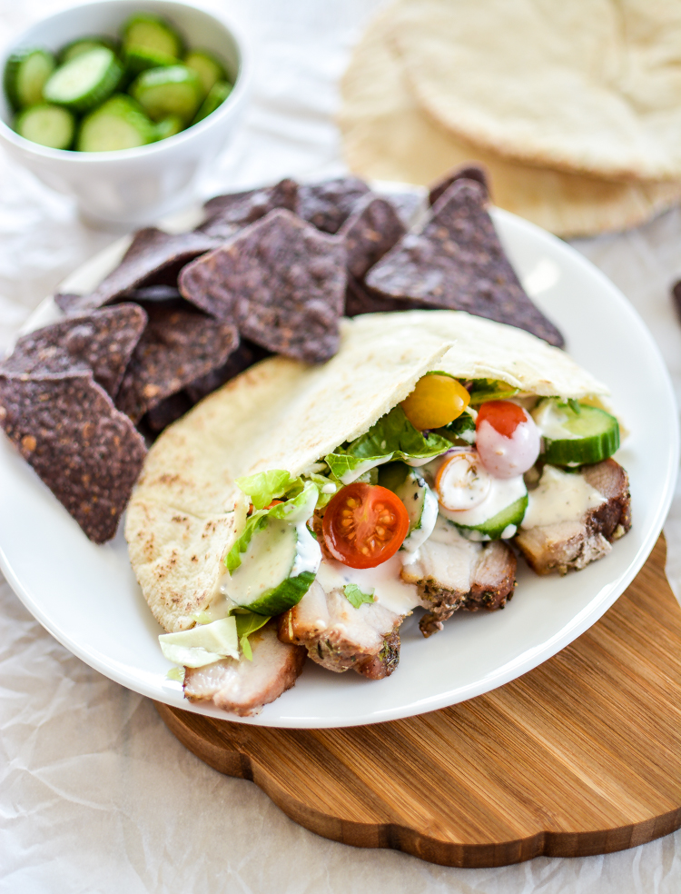 Pork Belly Gyros: a fun spin on a classic dish, using pork belly instead of lamb! | www.cookingandbeer.com