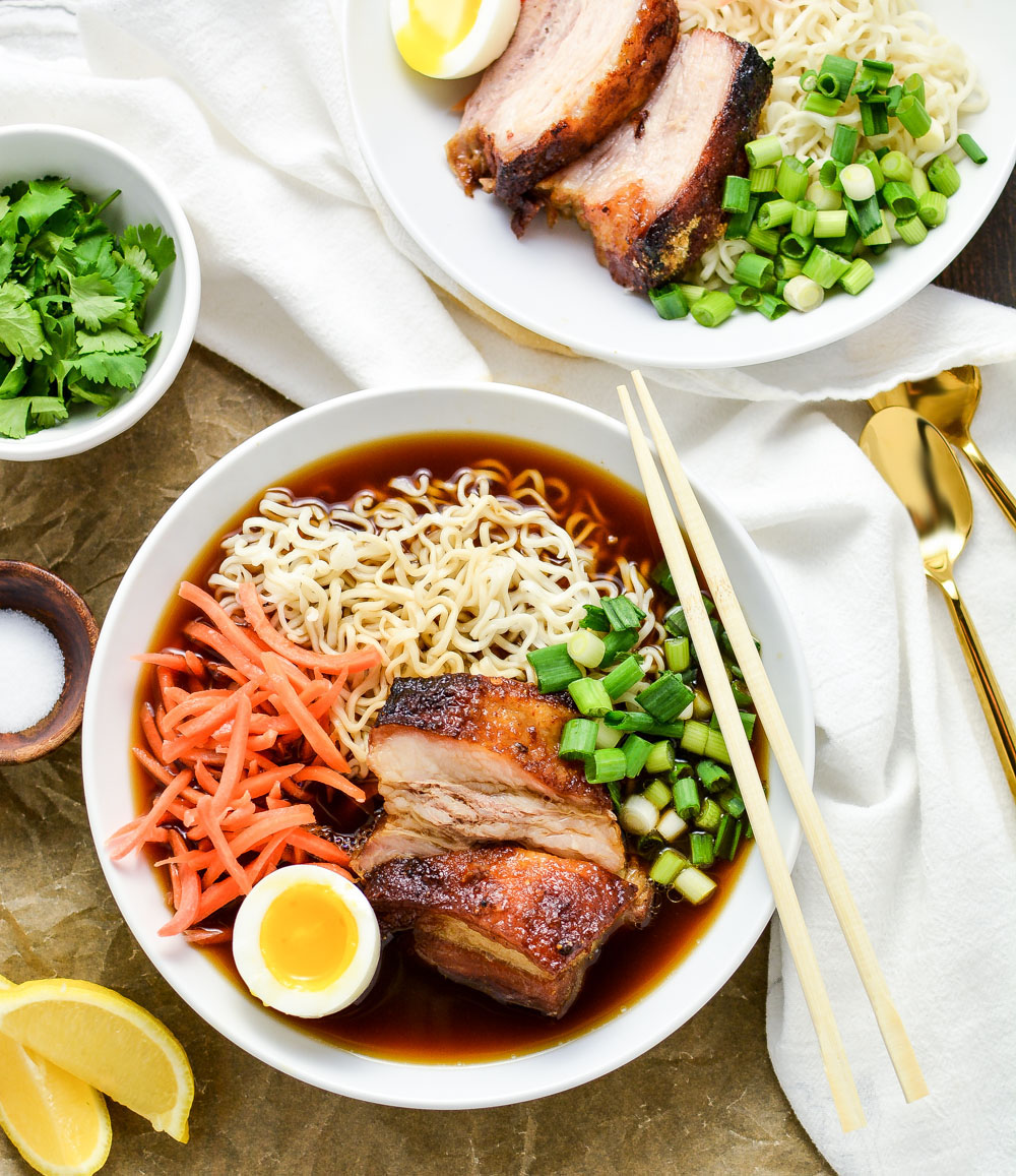Beer-Braised Pork Belly Ramen is a scrumptious noodle dish that's made with a homemade ginger-flavored broth and tender beer-braised pork belly.