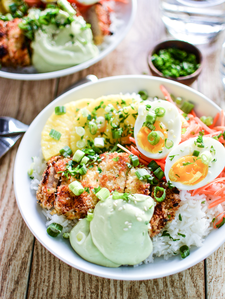 Sweet Chili Pork Cutlet Rice Bowls with Avocado Cream are a great quick weeknight dinner recipe idea!   www.cookingandbeer.com