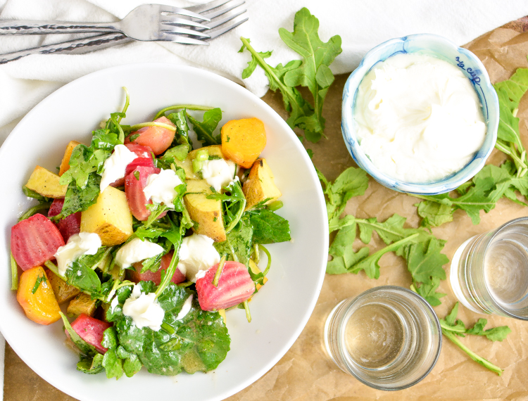 Maple Potato and Beet Salad is a light, yet hearty fall salad loaded with mustard flavor.